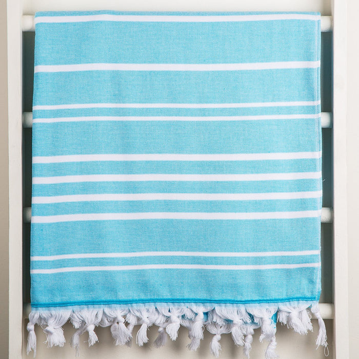 Turquoise and White Oasis Towel