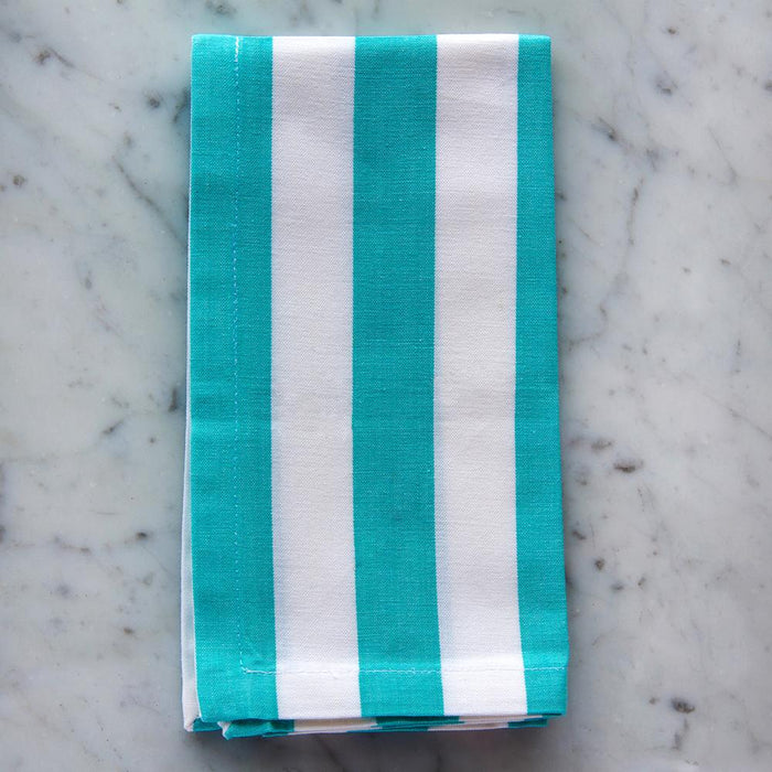 "Turquoise & White Striped 100% Cotton Napkin (18"")"