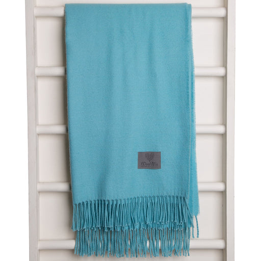 Turquoise Baby Alpaca Wool Throw Blanket