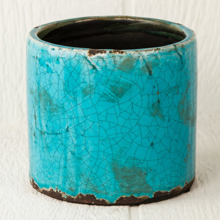 "Turquoise Crackled Round Pot (5.125"" h)"