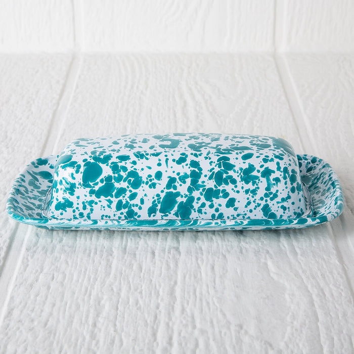 Turquoise Enamelware Butter Dish
