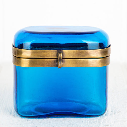 Turquoise Glass Jewelry Box
