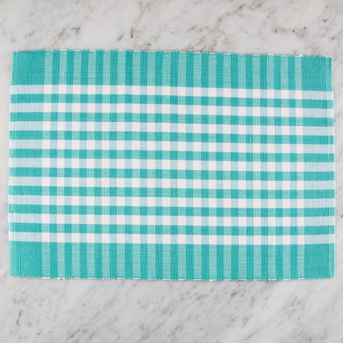 "Turquoise Italian Checkered 100% Cotton Placemat (19"" x 13"")"