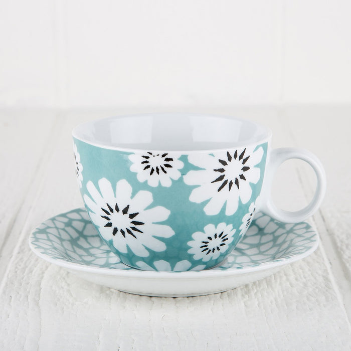 Turquoise Porcelain Flower Mug and Pattern Saucer