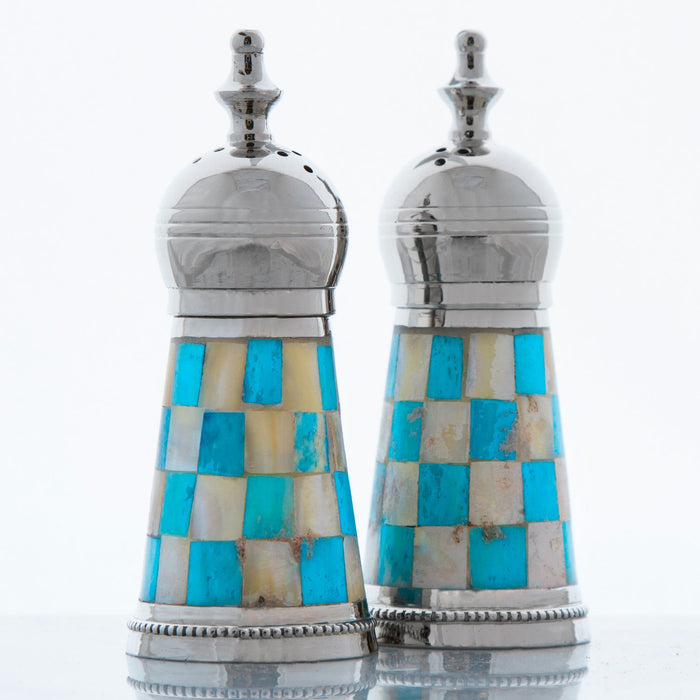 Turquoise Salt & Pepper Shakers with Mother of Pearl Sides