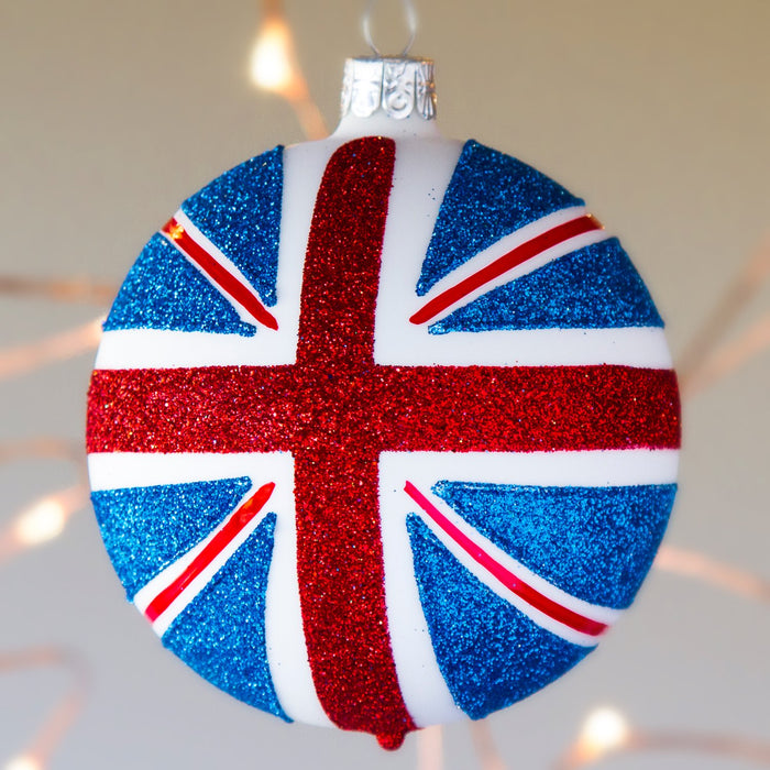 "Union Flag Ball Glass Ornament (4""h)"