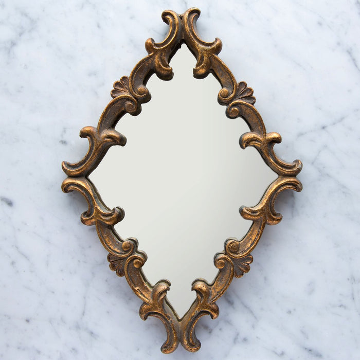 "Victorian Ornate Golden 1940 Lozenge Mirror (9.5"" x 13"")"