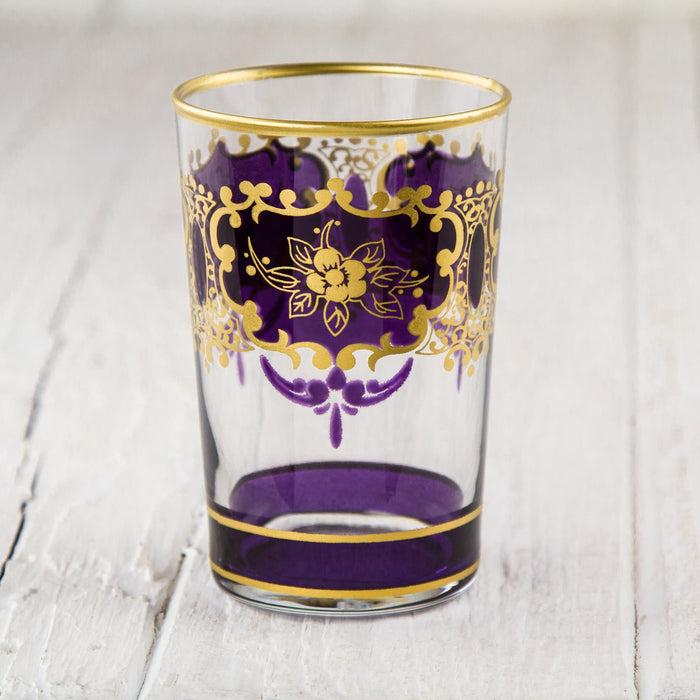 Violet and Gold Ornate Moroccan Tea Glass