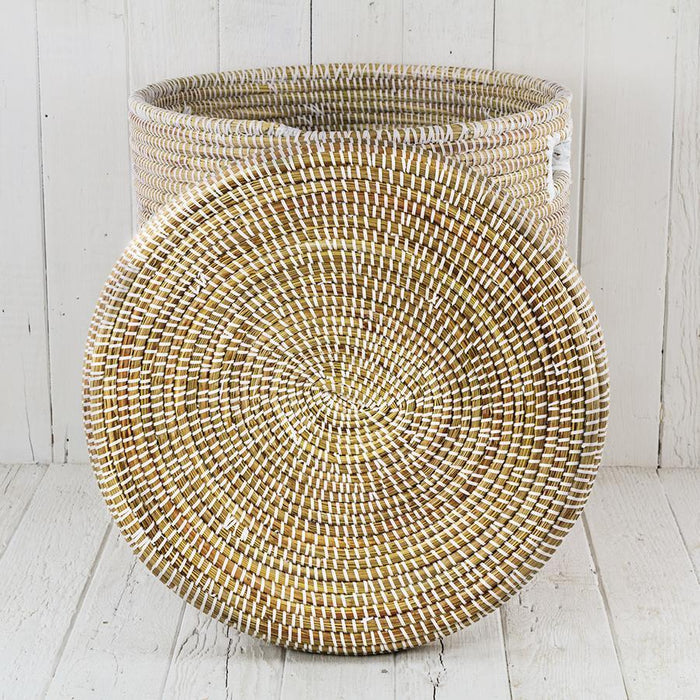 "White African Basket Hamper With Lid - Small (17.5""h)"