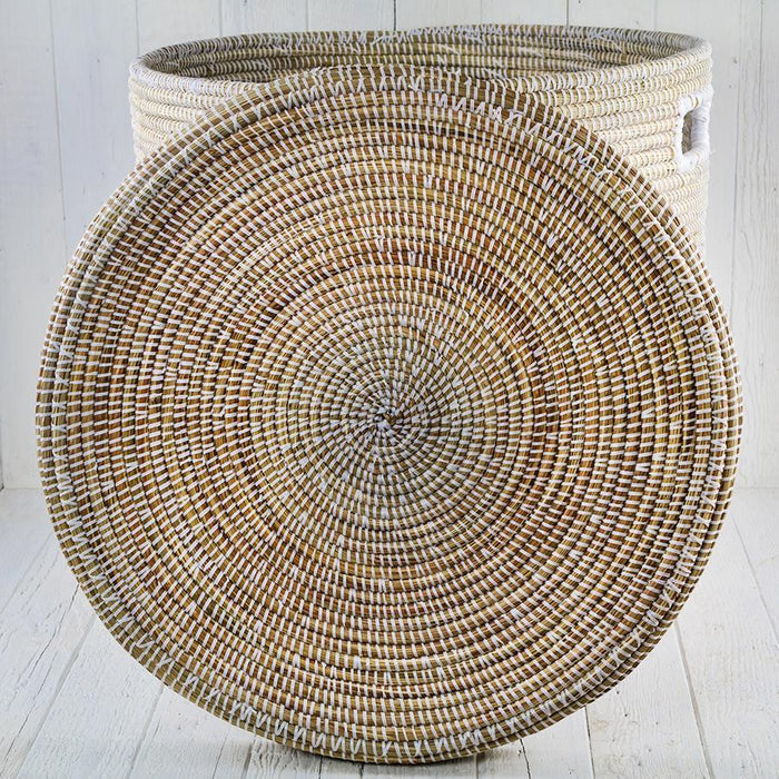 "White African Basket Hamper With Lid - Large (21.5""h)"