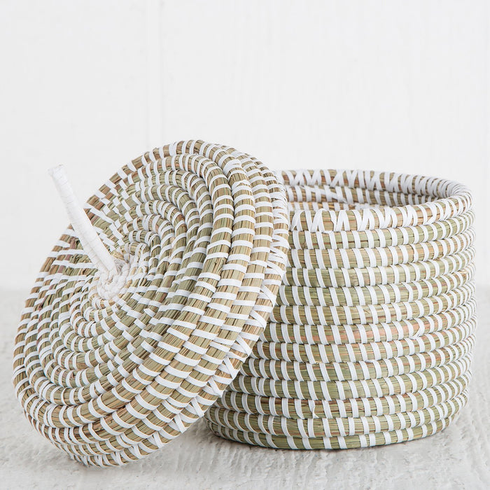 "White African Basket With Lid - Small (4.75""h)"