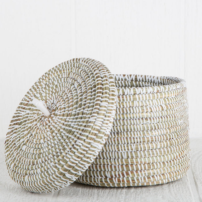 "White African Basket With Lid - Medium (5.75""h)"