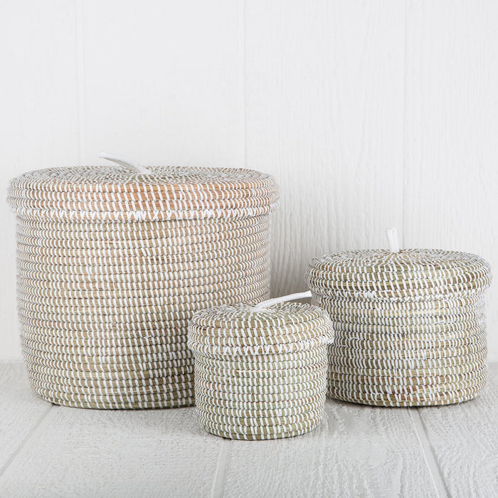 "White African Basket With Lid - Large (9.5""h)"