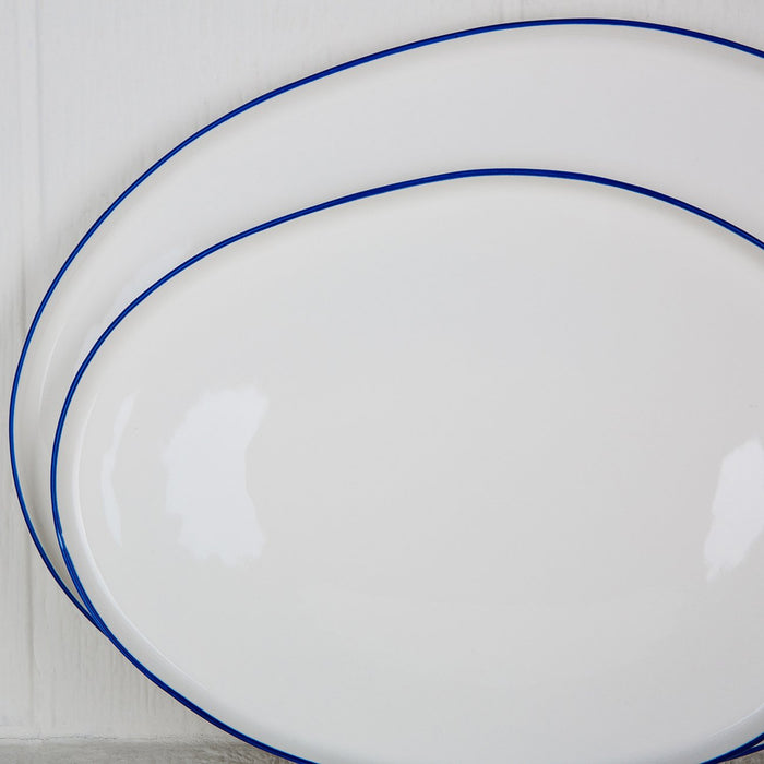 White and Blue Ceramic Serving Platter - Large