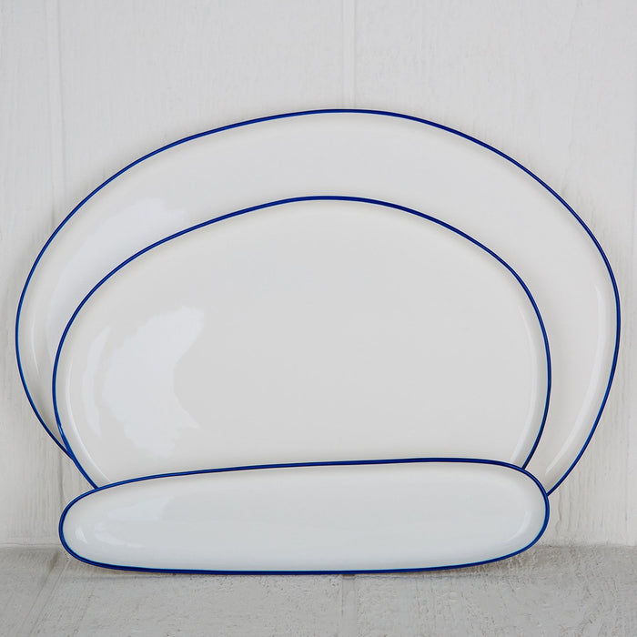 White and Blue Ceramic Serving Platter - Medium