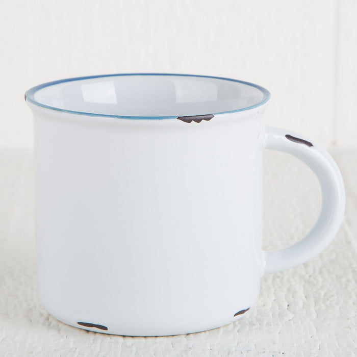 "White and Blue Ceramic ""Tinware"" Mug"