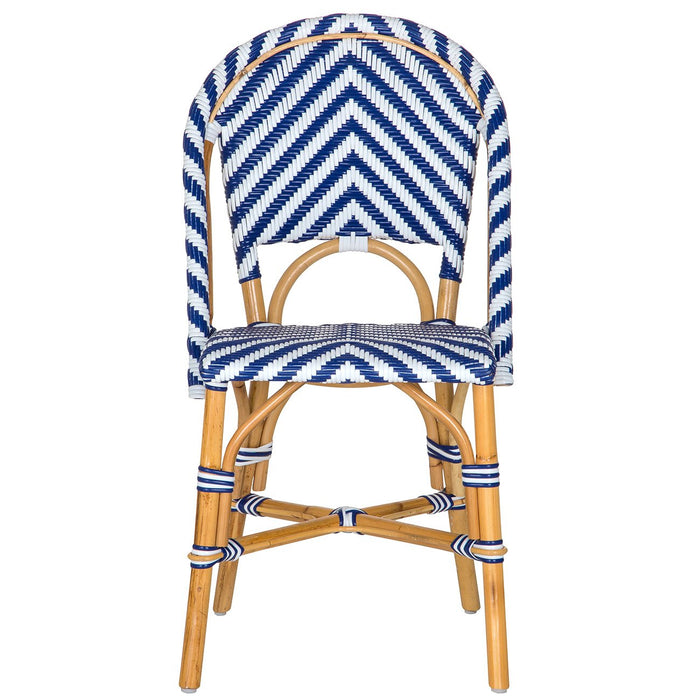 White and Blue London Bistro Chair (CHEV)