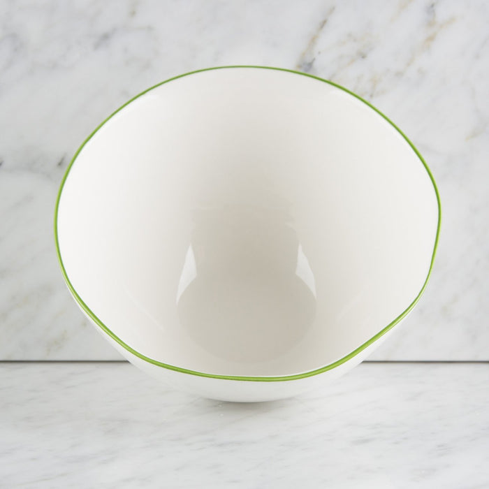 White and Green Ceramic Cereal Bowl