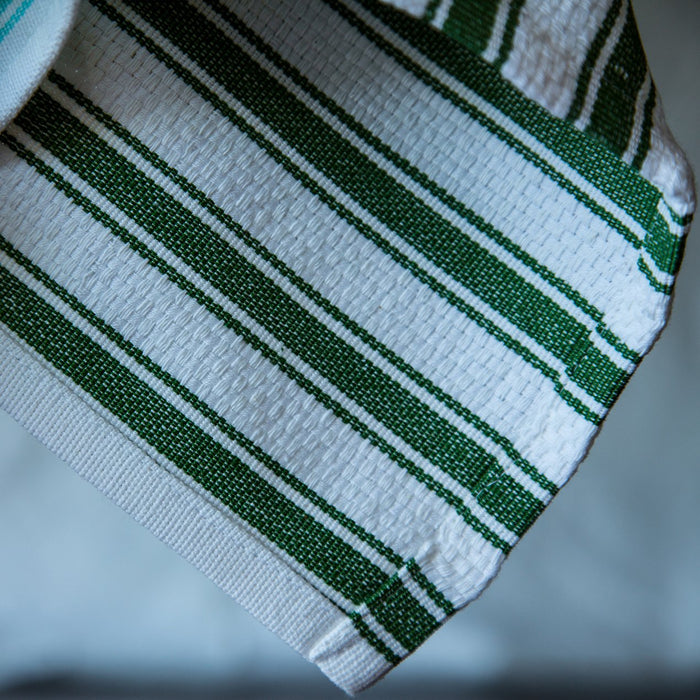 "White & Green Striped 100% Cotton Kitchen Towel (27.5"")"