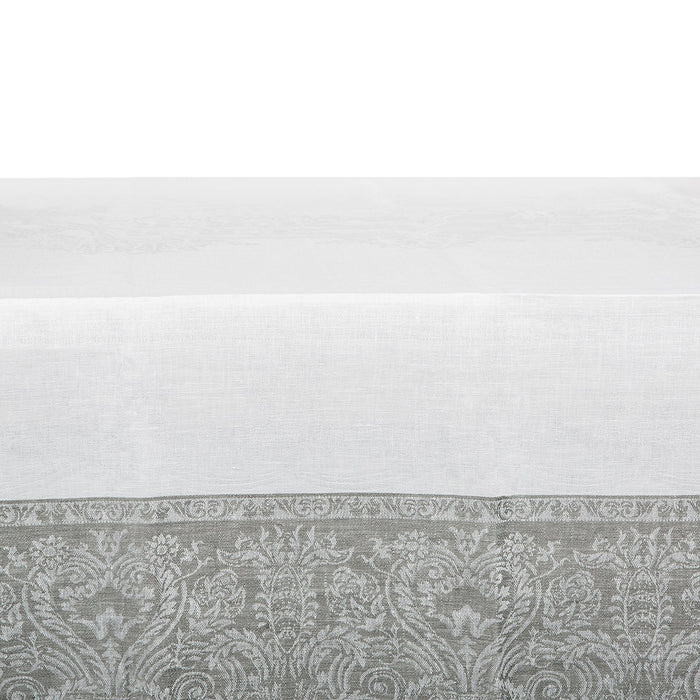 White and Grey Capricho Linen Tablecloth