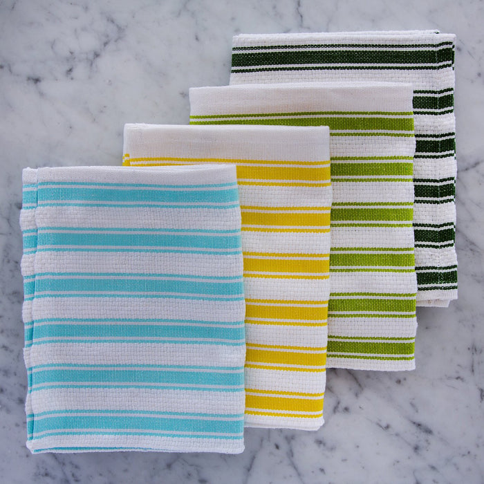 "White & Lime Green Striped 100% Cotton Kitchen Towel (27.5"")"