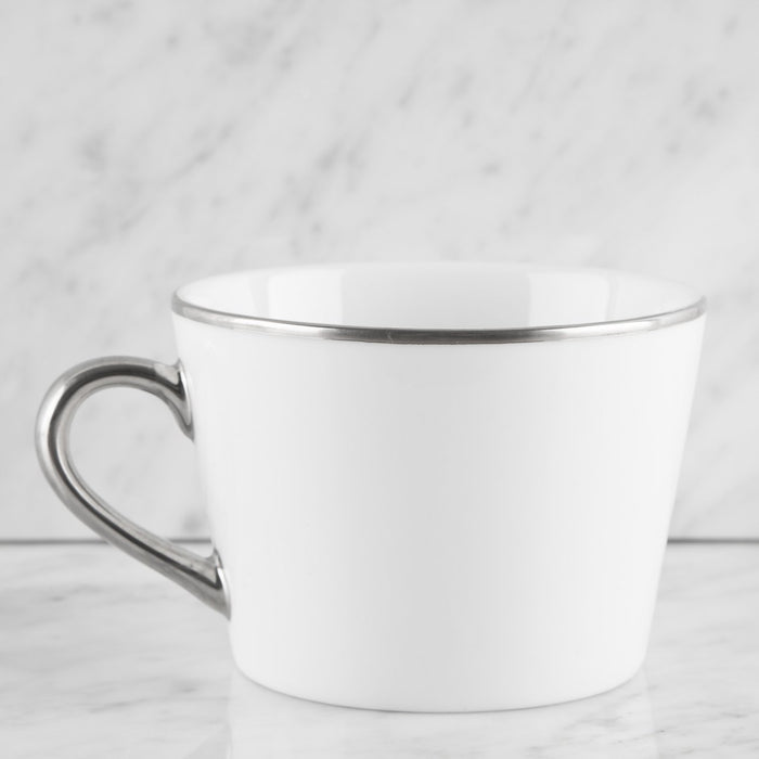 White and Silver Ceramic Coffee Mug and Saucer
