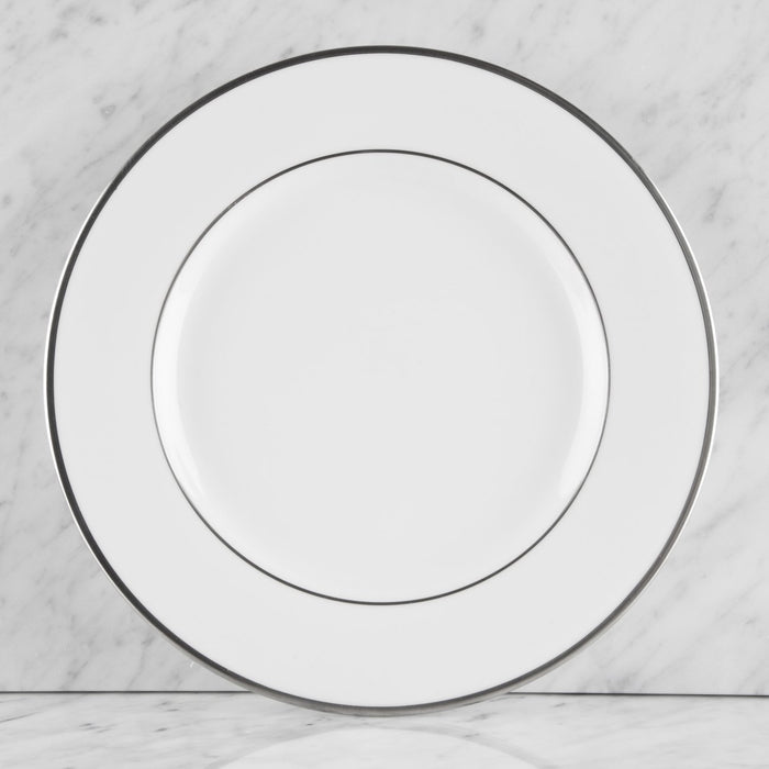 White and Silver Ceramic Dinner Plate