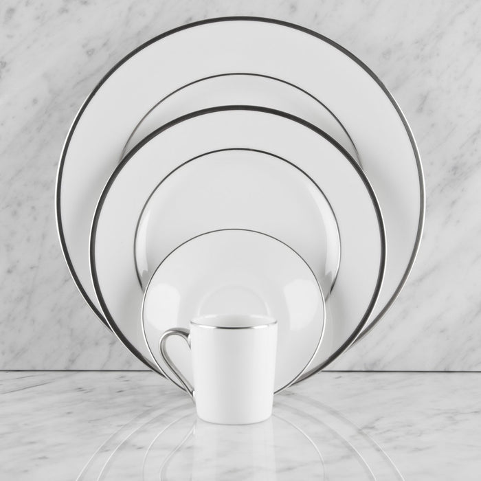 White and Silver Ceramic Espresso Cup and Saucer