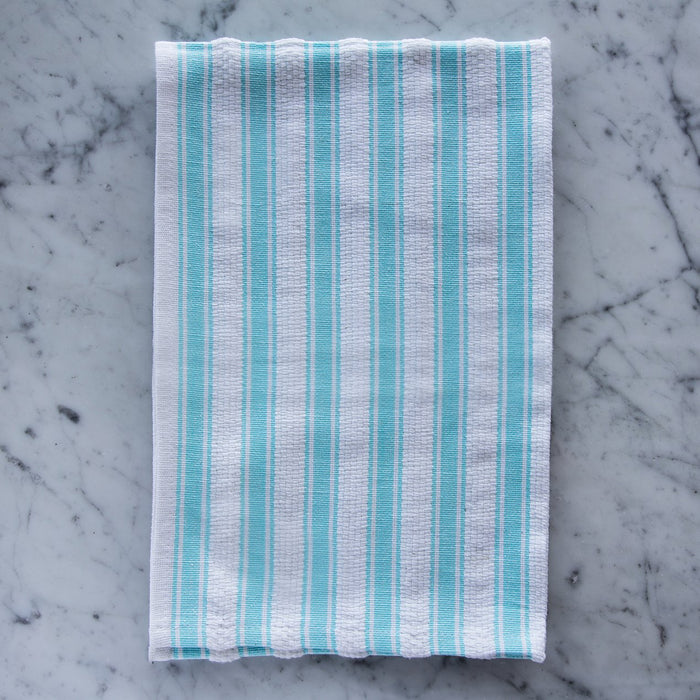 "White & Turquoise Striped 100% Cotton Kitchen Towel (27.5"")"