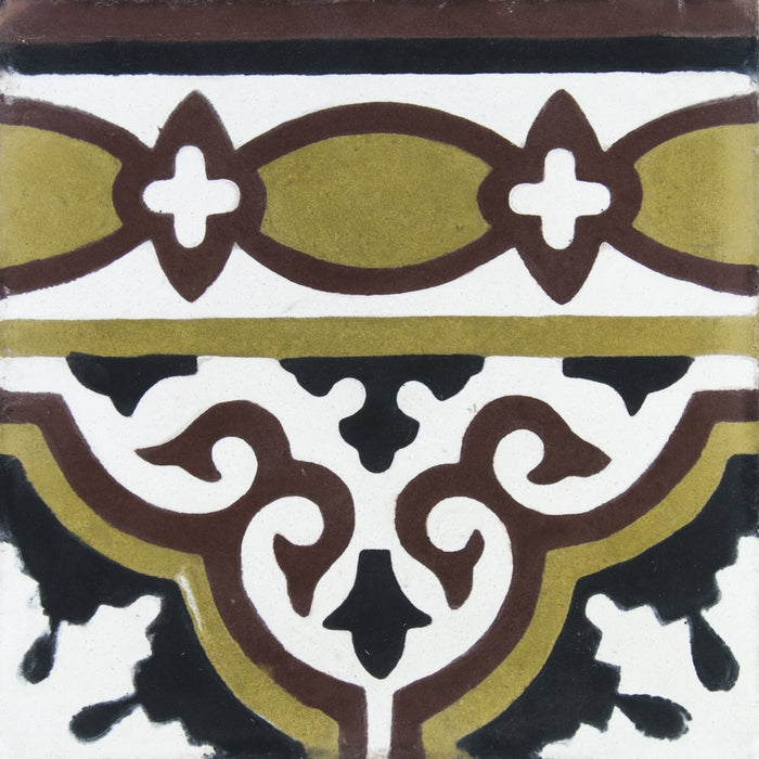 "White, Brown & Black Provencale Frise Carocim Tile (8"" x 8"") (pack of 12)"