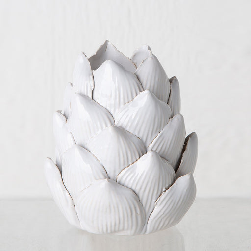 White Ceramic Artichoke Candle Holder