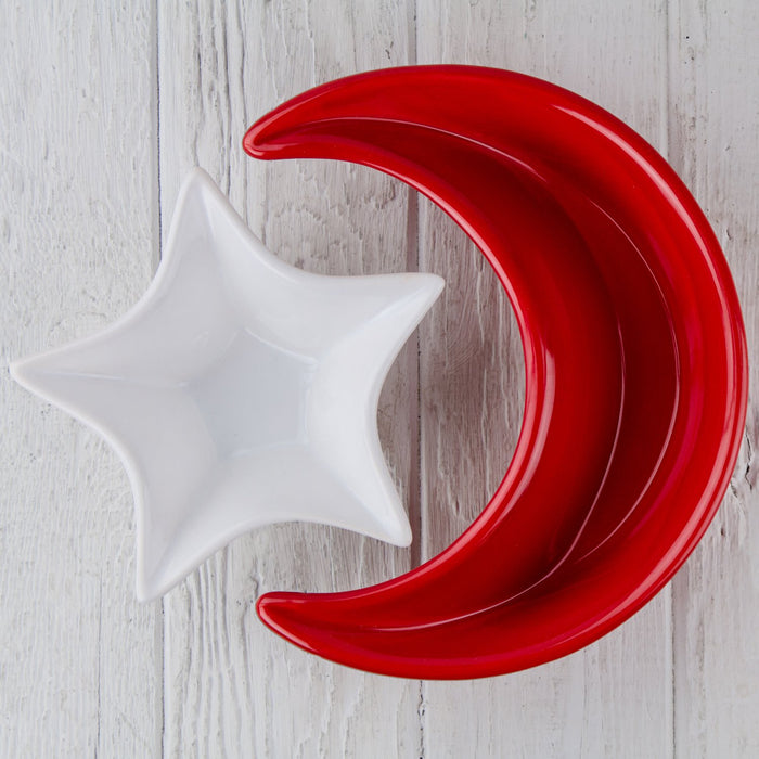 "White Ceramic Star Serving Dish (6"" w)"