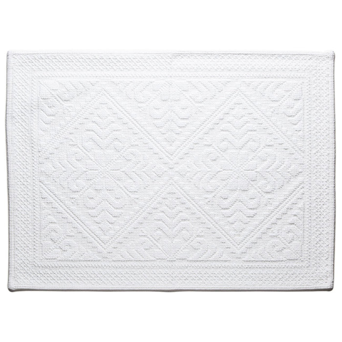 "White Cotton Bath Mat (25"" x 20"")"