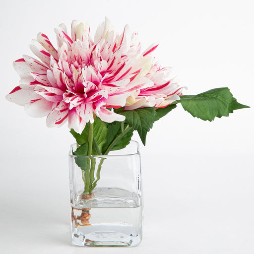 White Dahlia Silk Flower With Vase