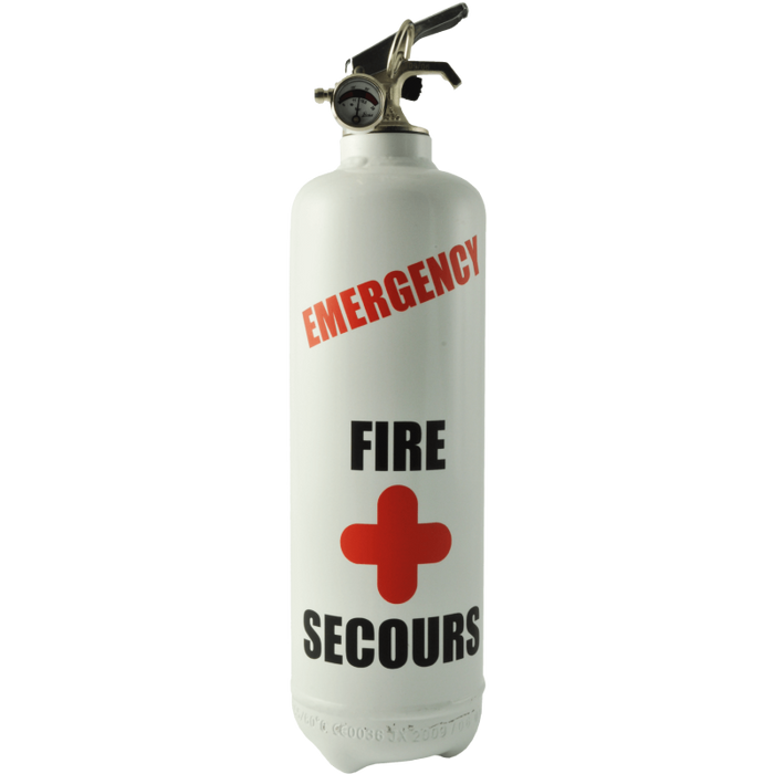 White Emergency Fire Extinguisher with Stand