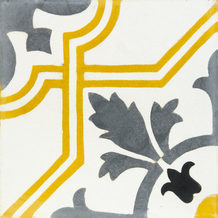 "White, Grey & Yellow Lafyette Carocim Tile (8"" x 8"") (pack of 12)"