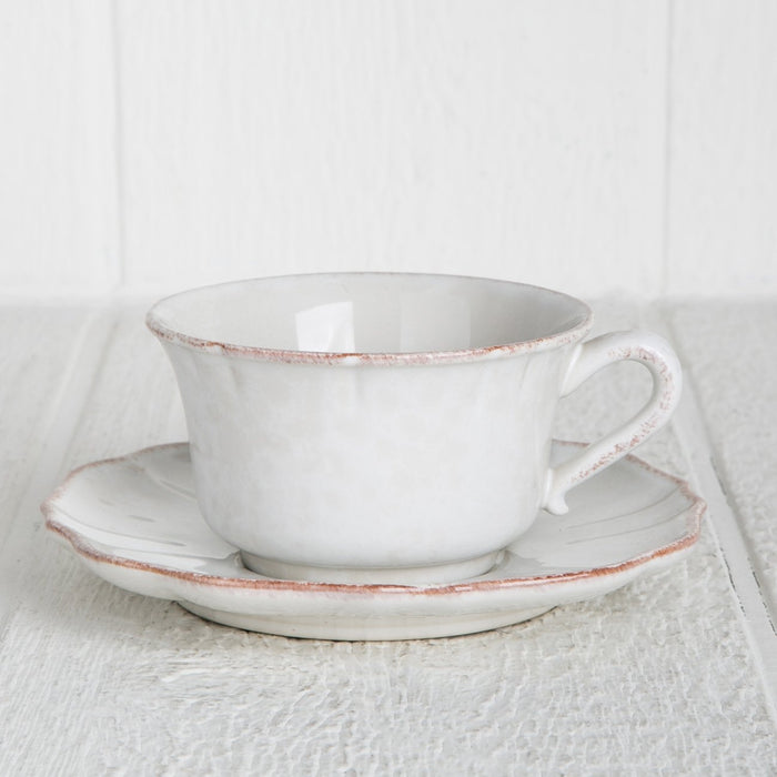 White Impressions Teacup & Saucer