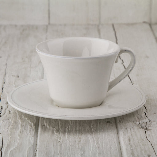 White Impressions Teacup with Saucer