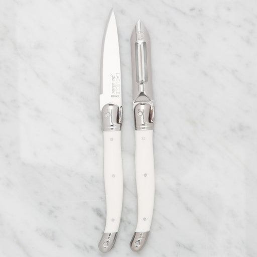 White Laguiole Peeler Set (2 Piece)