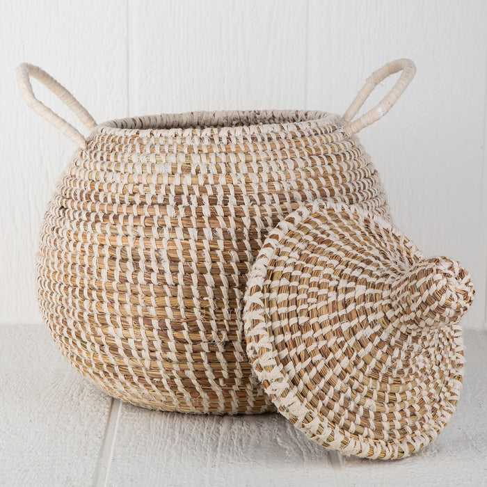"White Linen African Basket Bell Jar With Lid (16""h)"
