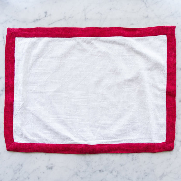 White Linen & Red Burlap Trim Placemat