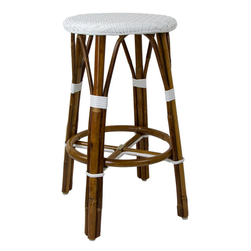 "White Counter Height Mediterranean Bistro Bar Stool (26"" h) (E)"