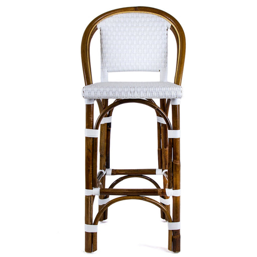 "White Mediterranean Bistro Bar Stool with Back (26"" h. seat) (E)"