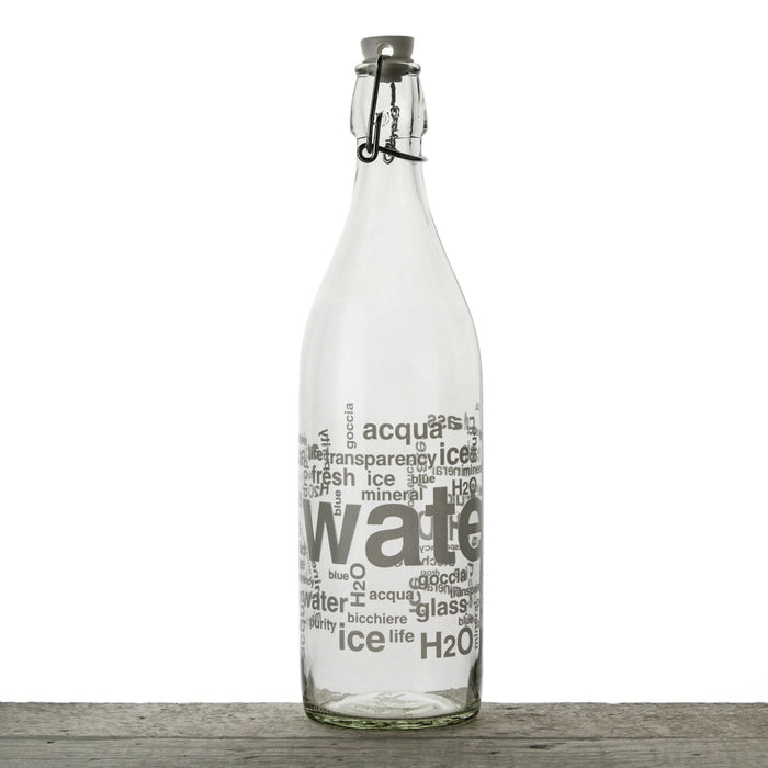 "White ""Water"" Swing-top Glass Bottle, 33.75oz"
