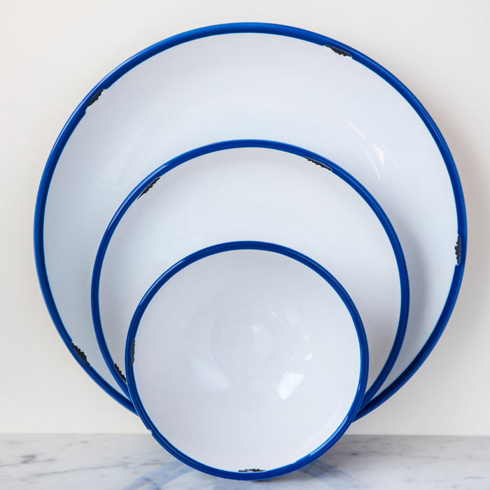 White with Blue Trim Tinware Bowl