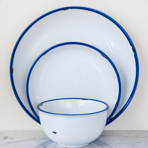 White with Blue Trim Tinware Dinnerware