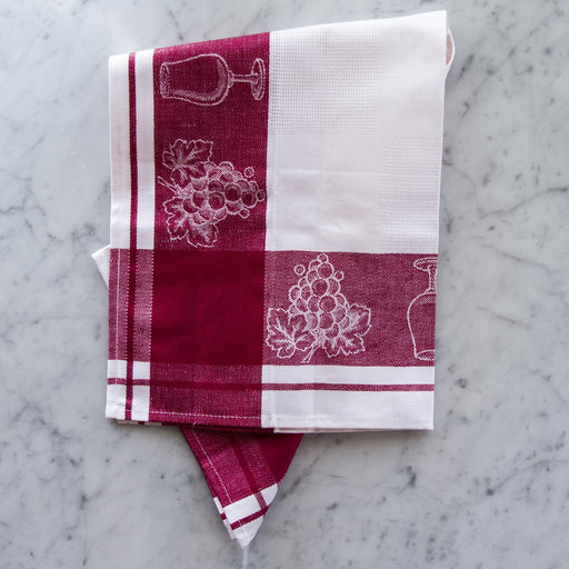 Wine Motif Linen Tea Towel