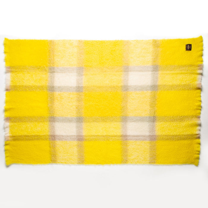 Yellow and Grey Plaid Mohair Throw Blanket