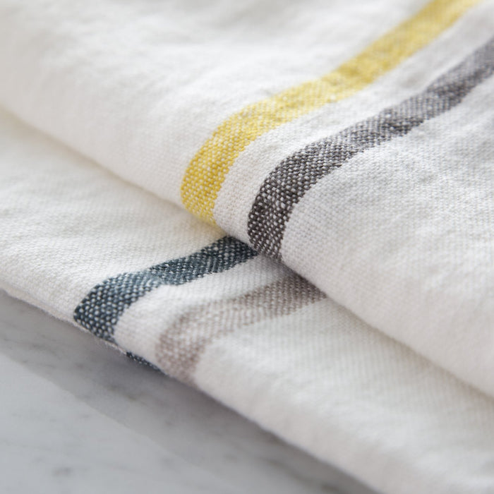 "Yellow and Grey Striped 100% Linen Napkin (16.5"" x 16"")"