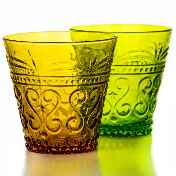 Yellow Arabesque Glass Tumbler